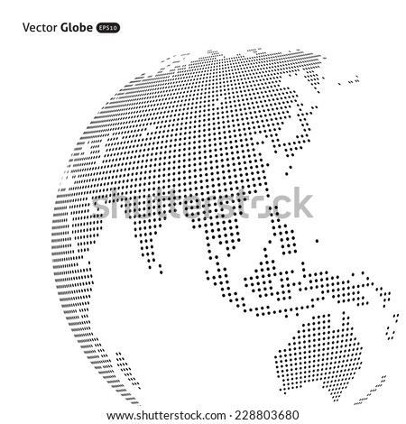 Vector abstract dotted globe, Central heating views over East Asia - stock vector