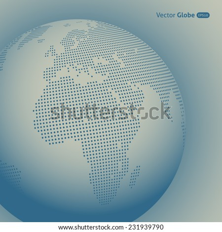 Vector abstract dotted globe, Central views of Africa - stock vector