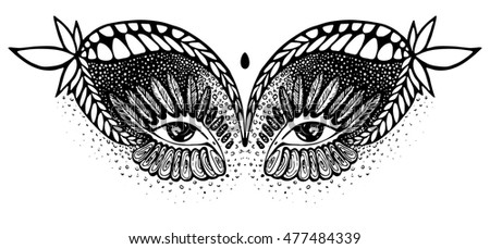 Line Drawing Feather : Vector abstract drawing eyes indian motive stock