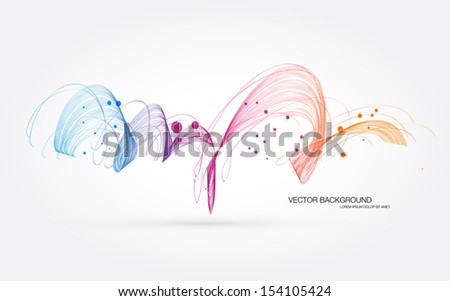 Vector abstract dynamic colorful curly wave background - stock vector
