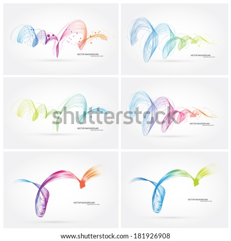 Vector abstract dynamic colorful curly wave backgrounds collection - stock vector