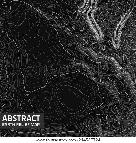 Vector abstract earth relief map. Generated conceptual elevation map.  - stock vector