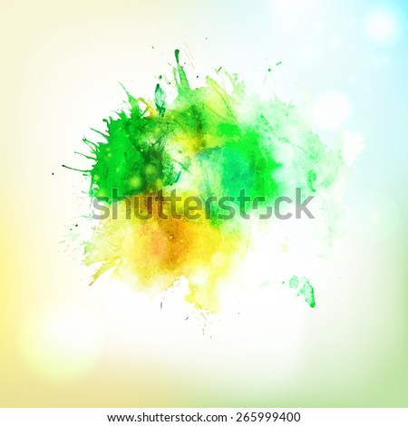 Vector abstract eco friendly hand drawing watercolor splash at sky background. Creative design elements. Hand drawing art.