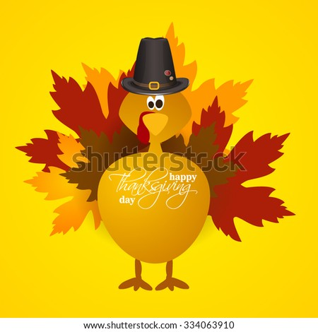 vector abstract elements on autumn holiday Thanksgiving, turkey, turkey yellow leaves, graphic design illustration on the feast day of Thanksgiving - stock vector