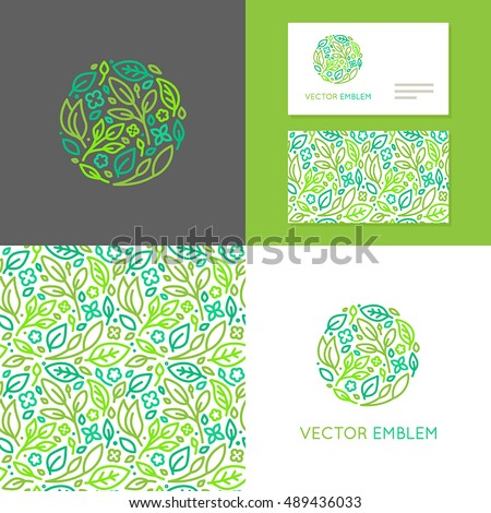 vector abstract emblem insignia made of green leaves and flowers set of design elements