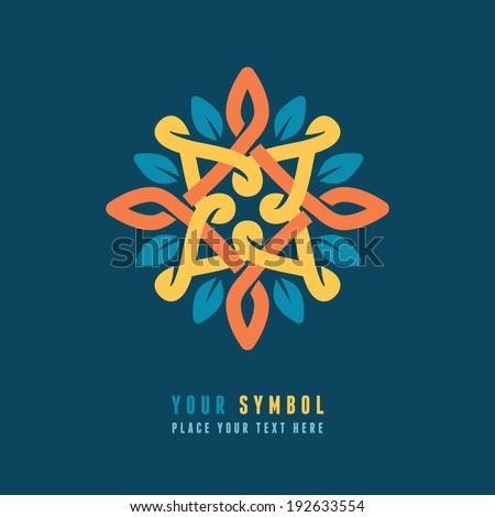 Vector abstract emblem - outline monogram - flower symbol - concept for organic shop or yoga studio - logo design template - stock vector