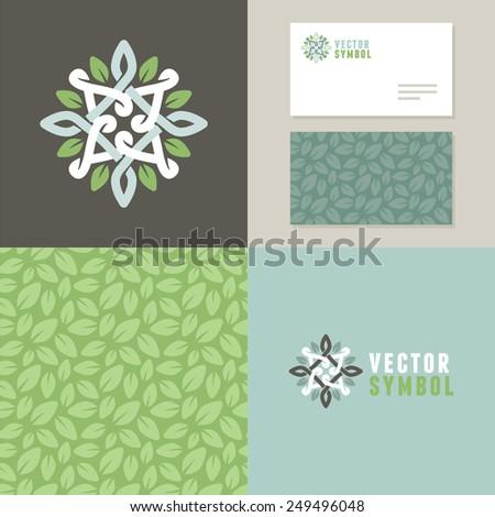 Vector abstract emblem - outline monogram - flower symbol - set of design elements for organic shop or yoga studio - logo, pattern and card templates - stock vector