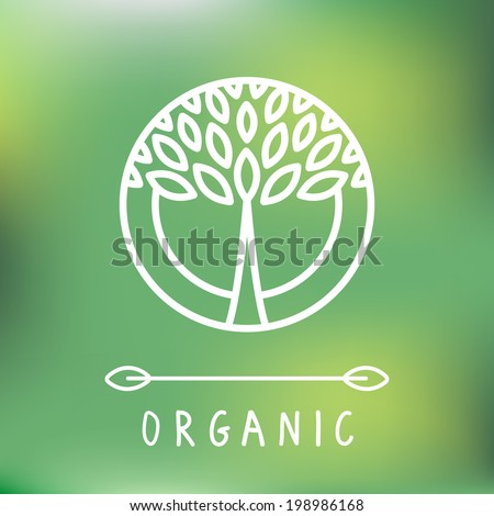 Vector abstract emblem - outline monogram - tree symbol - concept for organic shop - abstract design element - logo design template - stock vector