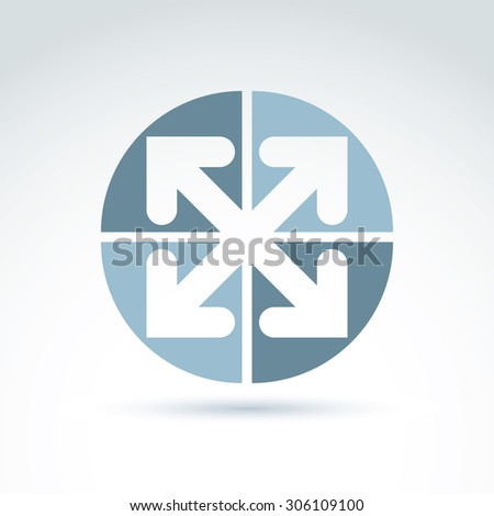 Vector abstract emblem with four multidirectional arrows placed in sectors. Conceptual symbol, icon. - stock vector