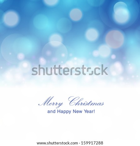 Vector abstract festive background with bokeh defocused lights. - stock vector