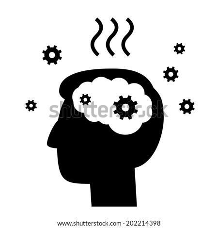 vector abstract flat design burnout icon head break gears inside brain | black pictogram separated on white background - stock vector