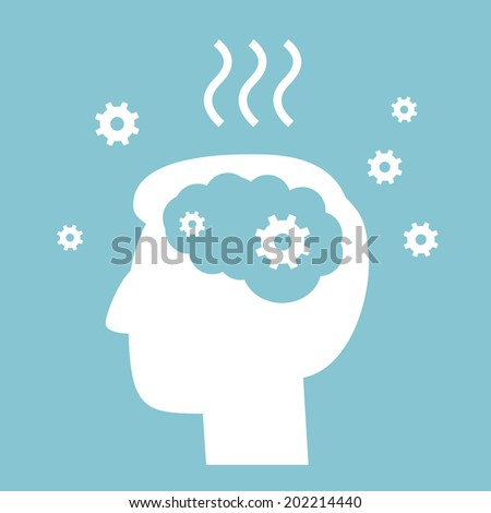 vector abstract flat design burnout icon head break gears inside brain | white pictogram separated on green background - stock vector