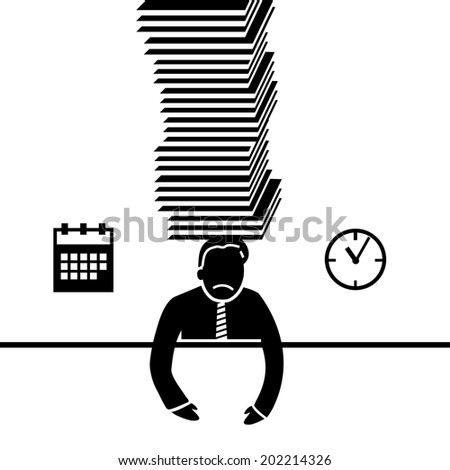 vector abstract flat design businessman icon under pressure because of deadline black pictogram separated on white