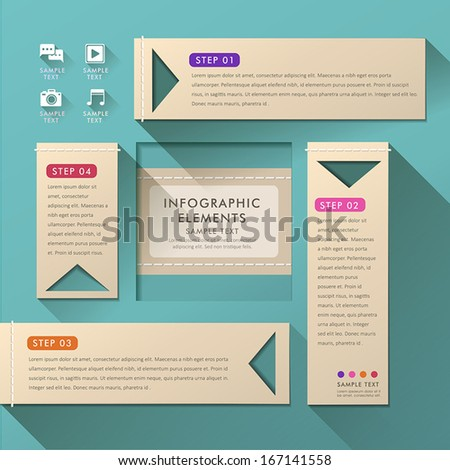 vector abstract flat design infographic elements - stock vector