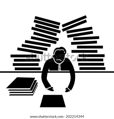 vector abstract flat design overworked businessman icon with work falls on his head black pictogram separated on white background - stock vector