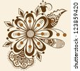 Vector abstract floral elements in indian mehndi style. Abstract floral vector illustration. Design element. - stock vector