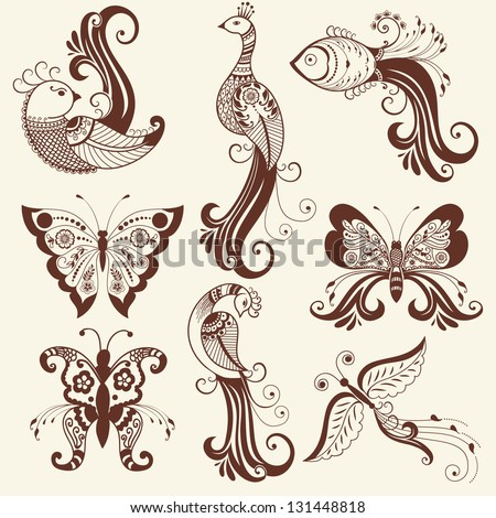 Vector abstract floral elements in indian mehndi style. Abstract henna floral vector illustration. Design element. - stock vector