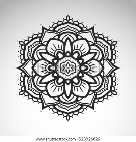Vector abstract flower mandala vintage decorative stock - Mandala paysage ...