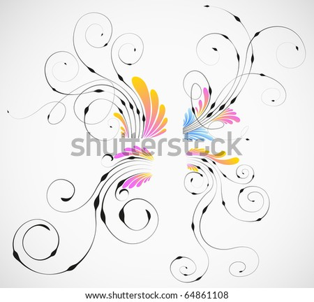 vector abstract flowers design collection - stock vector