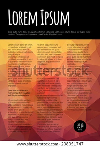 Vector abstract flyer, brochure, booklet design template with colorful polygonal geometric background.