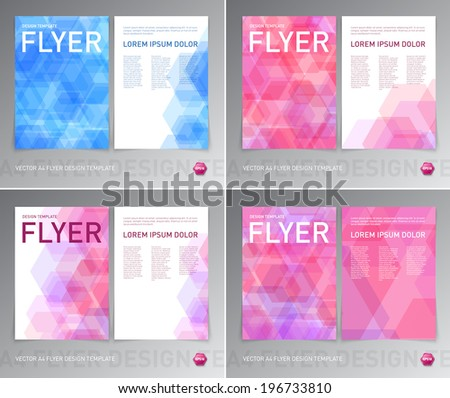 Vector abstract flyer designs collection with geometric hexagonal backgrounds - stock vector