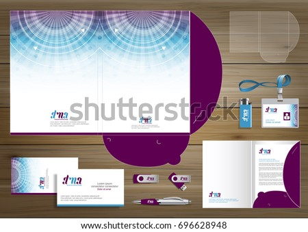 Vector abstract Folder Stationery presentation corporate identity template design, business Color promotional souvenirs elements. link digital technology set, blue, red, Green, Purple, Pink, orange