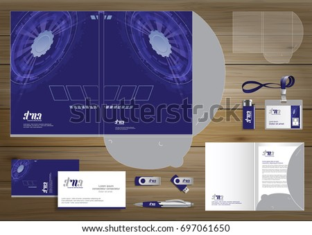Vector abstract Folder Stationery presentation corporate identity template design, business Color promotional souvenirs elements. link digital technology set, Blue, Cyan, Gray,