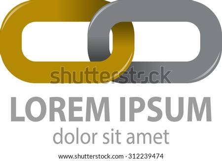 Vector abstract, form chains of gold and silver color are connected, as a symbol of unity - stock vector