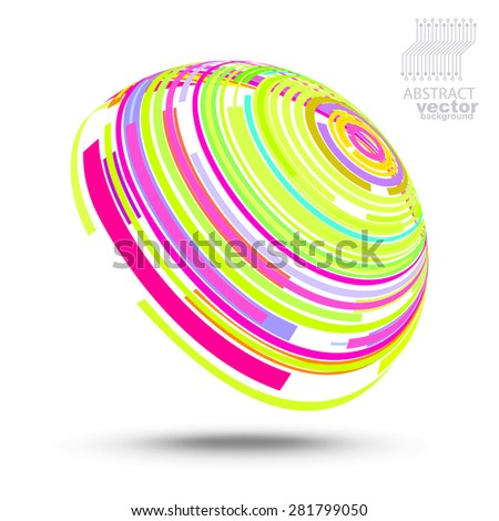 Vector abstract futuristic background (technical style) - stock vector