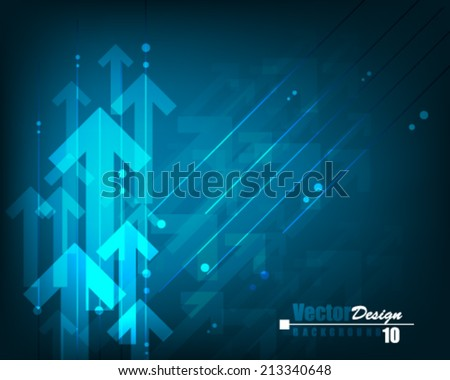 Vector Abstract Futuristic Blue with Arrow Background - stock vector