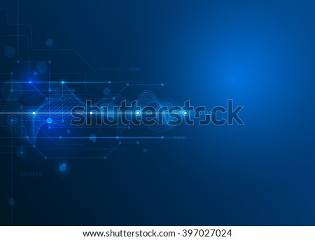 Vector Abstract futuristic circuit board and mesh line, Illustration high computer and Communication technology on blue color background. High tech digital technology,global social media concept