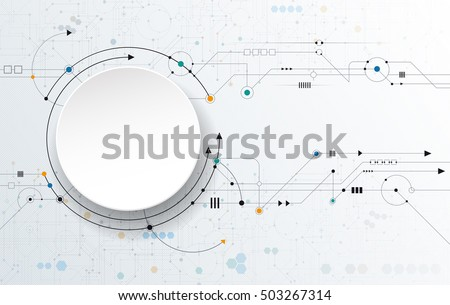 Vector Abstract futuristic, 3d white paper circle label and circuit board. Illustration high tech computer technology over light gray color background. Hi-tech digital technology concept