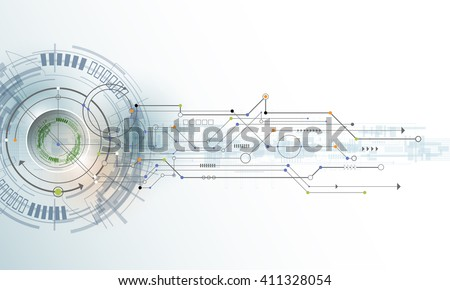 Vector Abstract futuristic eyeball on circuit board, Illustration high computer technology on light color background. Hi-tech digital technology concept
