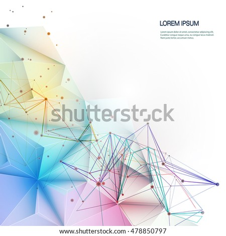 Vector Abstract futuristic - Molecules technology background. Geometric, Polygonal, Triangle pattern in molecule structure shape. Digital Futuristic, communication, Technology concept