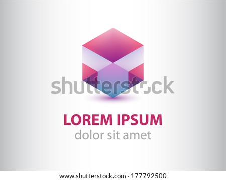 vector abstract geometric crystal logo for company, identity - stock vector