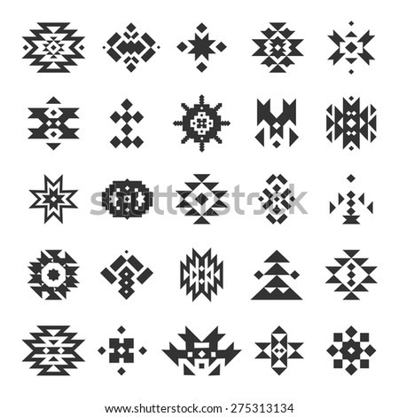 Vector abstract geometric elements, pattern, ethnic collection, aztec icons, tribal art, for design logo, cards, backgrounds - stock vector