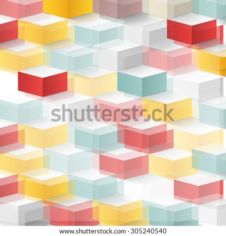 Vector Abstract geometric shape from cubes. squares - stock vector