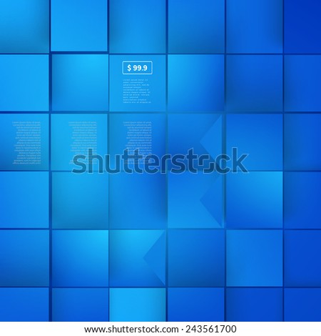 Vector Abstract geometric shape from gray cubes. Blue squares - stock vector