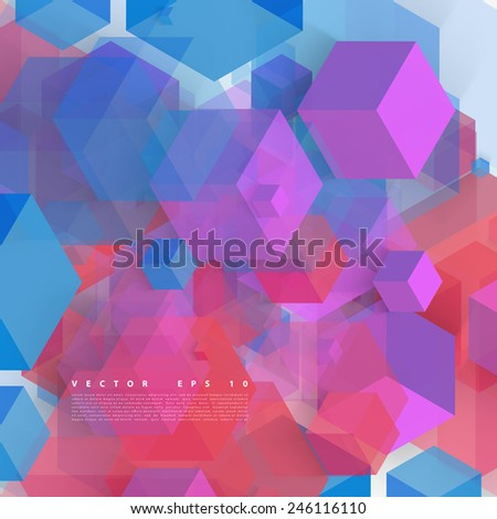Vector Abstract geometric shape from gray cubes. Color squares - stock vector