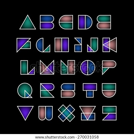 Vector abstract geometric stained-glass font. High quality design element. - stock vector