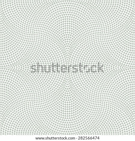 Vector abstract geometrical floral seamless pattern from light green fan shaped decorative triangular elements on a light grey background  - stock vector