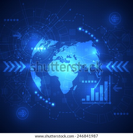 vector abstract global future technology, electric telecoms background