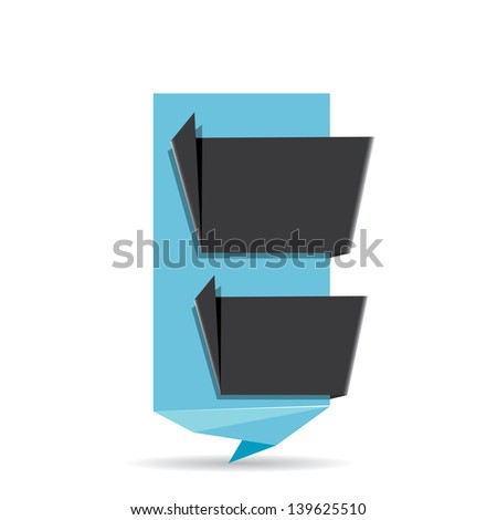 vector abstract glossy blue paper origami speech bubble with black ribbon for text. Vector blue paper abstract background for website or cover design.