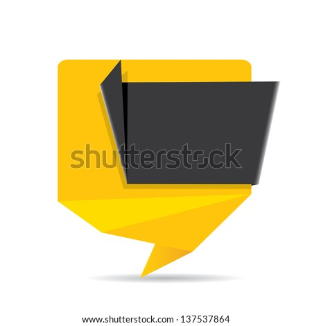 vector abstract glossy orange paper origami speech bubble with black ribbon for text. Vector orange paper abstract background for website or cover design. - stock vector