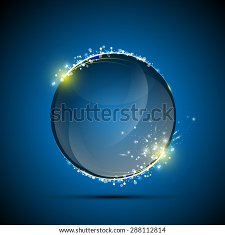 vector abstract glossy sphere exploding - stock vector