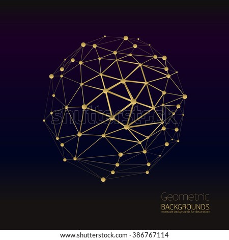 vector abstract gold geometric lattice, the scope of molecules, the molecules in the circle. Round composition of the molecular lattice. Gold color composition.