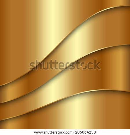 Vector abstract gold metal background with curves - stock vector