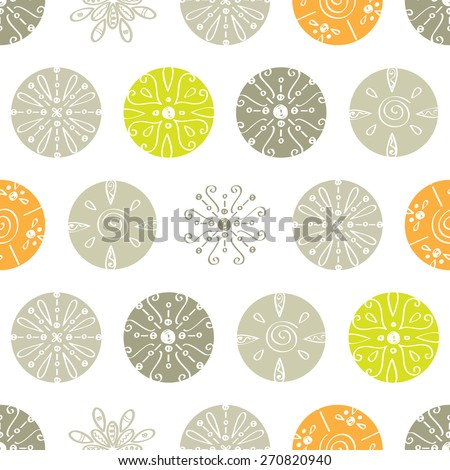 Vector abstract gray and green polka dot seamless pattern background - stock vector