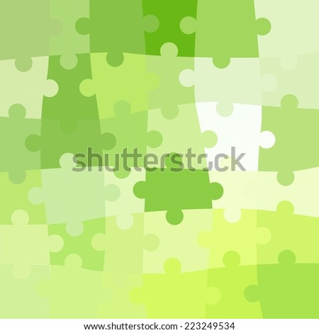 Vector Abstract green background made from white puzzle pieces and place for your content - stock vector