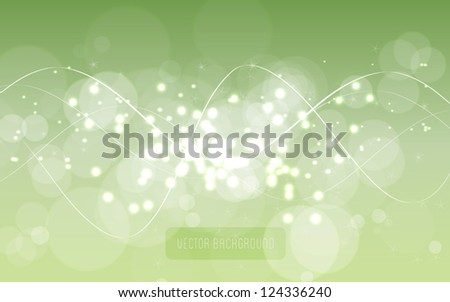 Vector abstract green blurry light glittering background